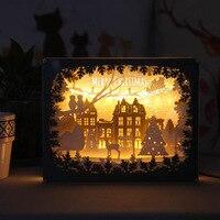 3D Paper Light Shadow Carving Christmas Paper Lamp Night Light Romantic Gift Hollow Deer LED Energy Saving Lamp