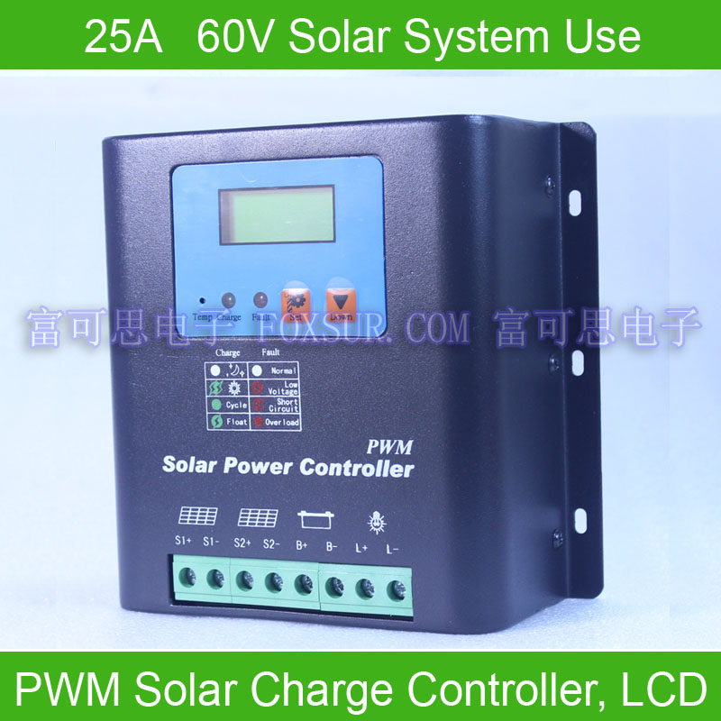 25A 60V PWM Solar Charge Controller, with LCD display battery voltage and capacity, Hi-Quality Display Charging for Off Grid PV 60a 48v pwm solar charge controller with lcd display battery voltage and capacity hiquality display charging for off grid pv c