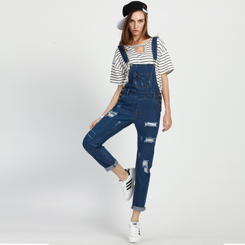 RC S SECRET 2017 Lady Plus Size Vintage Retro Ripped Denim Overalls Pants Jeans Stretch Casual