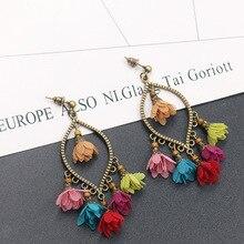 Women Classic Flower Shape Drop Earrings Colorful Tassel Fabric Blossom Bronze Charm