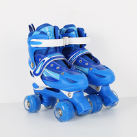 NEW Kids Adult Children Double Line Skates Skating Shoes Adjustable Size Breathable Patines PU Flashing Wheels 3 Colors