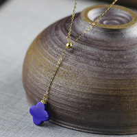 Gold Natural Lapis Lazuli Jewelry Four leaf Clover Necklaces For St. Patrick's Day For Women