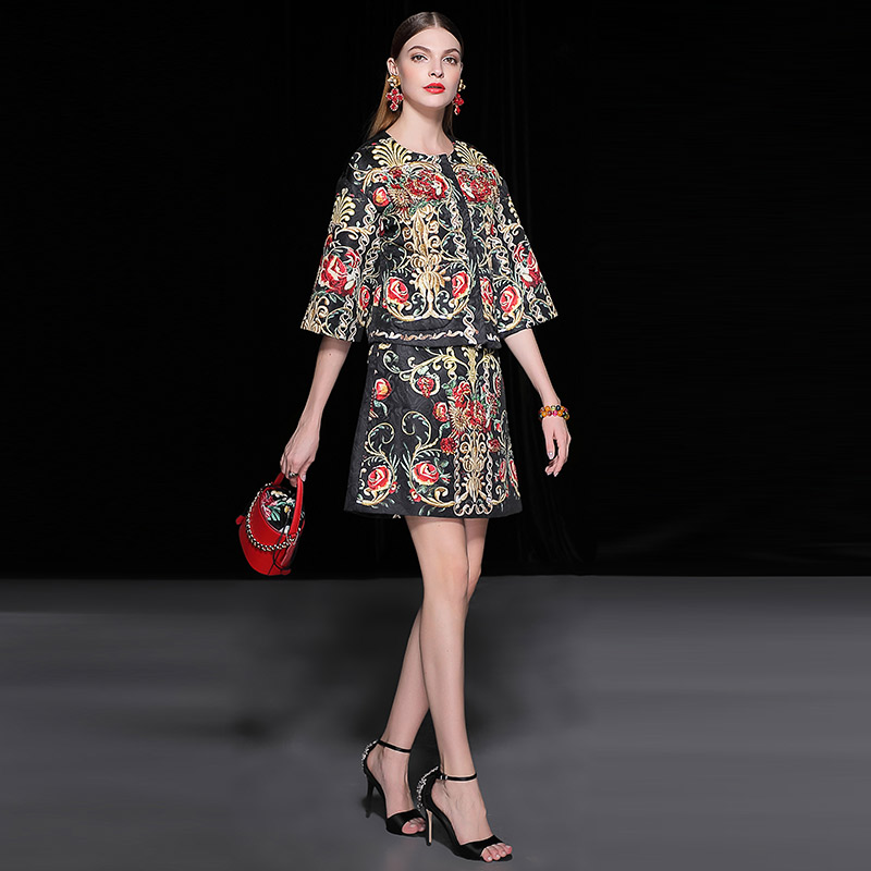 Jeu Cou Dobby 2019 Minijupe Automne Floral Costumes Courtes De Vintage Baguettes Demi Imprimé Femmes Piste Veste Manches Printemps O Gems qnXTr4p8qw