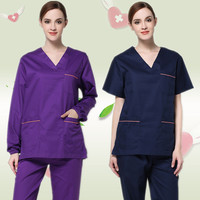 2019 V neck washable hospital surgical uniform sets women scubs durable and colorfast short sleeve surgery scrubs sets men