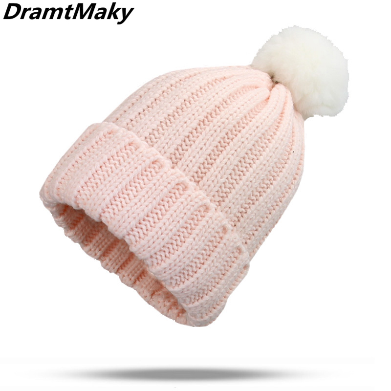 Women's Winter Hats Scarf rabbit fur pompom Crochet Children Knit Cap   Skullies     Beanies   Warm Caps Female Knitted Stylish Hat