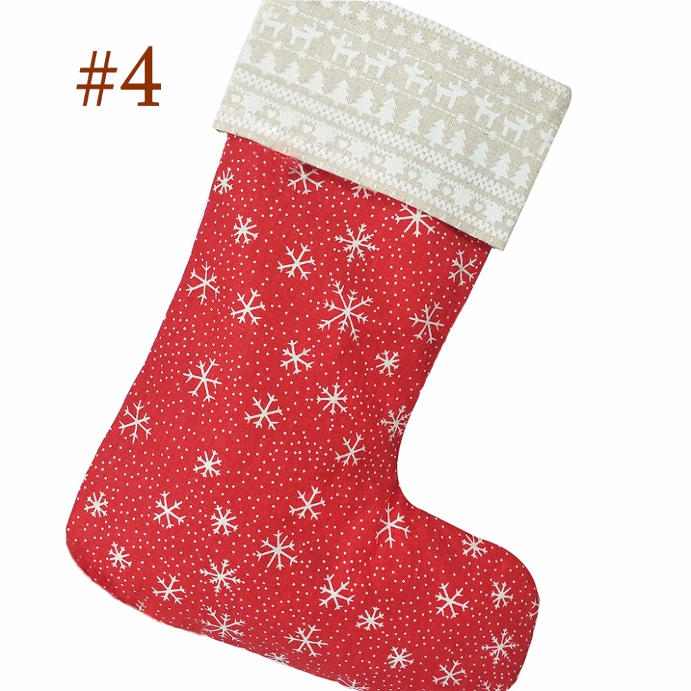 wholesale 100pcslot christmas stocking ginghamdotsnowflakes christmas stocking red and white christmas gift bag decoration in stockings gift holders - Red And White Christmas Stockings