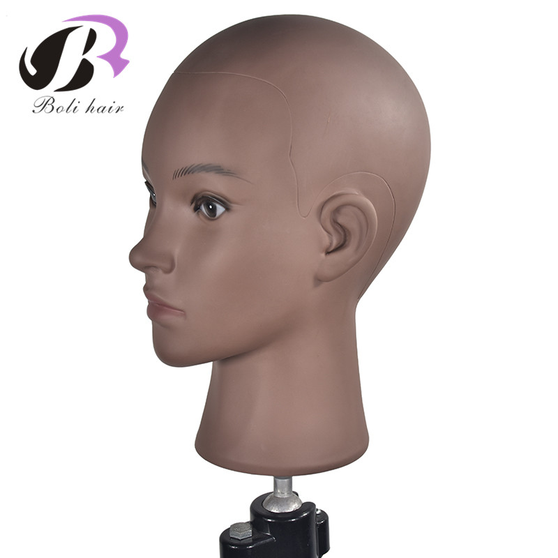 Wig Stands Hair Extensions & Wigs Bolihair Pvc Bald Training Head Mannequin Professional Bald Manikin Head For Wigs Display Doll Head With A Free Clamp