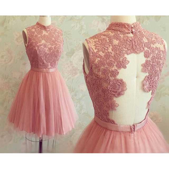 9f3a005ead HC10 Pink Short Homecoming Dresses Lace Appliques High Neck Keyhole Back  Tulle Homecoming Dress Graduation Dresses Party Dress
