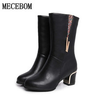2018 autumn winter Mid calf Vintage Style Women Boots Genuine Leather Back Zipc calzado mujer Boots chelsea martin boots188W