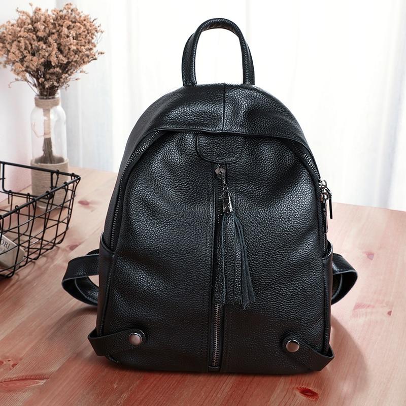 BAQI Women Backpacks 2019 Fashion High Quality Genuine Leather Cowhide School Bag Youth Girls Lady Shoulder Bag Bagpack Mochila in Backpacks from Luggage Bags