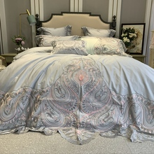 New Luxury 100S Egyptian Cotton Lace Embroidery Palace Bedding Set Gray Pink White Duvet Cover Bed Linen sheet Pillowcases