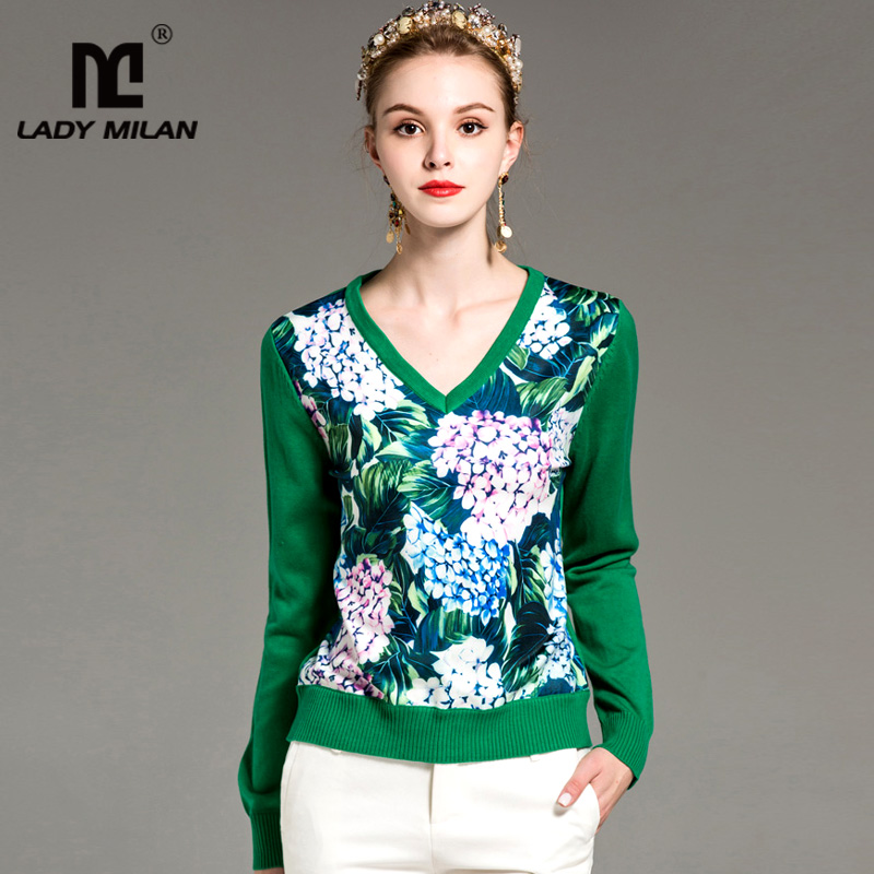 New Arrival Womens Sexy V Neck Long Sleeves Floral Printed Knitted Patchwork Fashion Knits& Tees Blouses