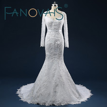 Real Pictures Vintage Sequins Beading Lace-up Back Mermaid Wedding Dresses with Long Sleeves V-neck Appliques Court Train