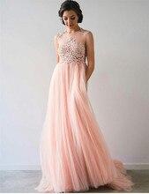 Günstige Rosa Chiffon Appliques Rosa Abendkleid Lang A-line Sleeveless Bodenlangen Haupt Recht Scoop Abendkleider Förderung
