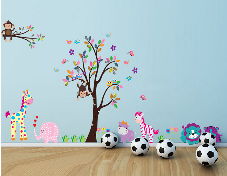 Cute Cartoon Baby Wall Stickers Tree Animals Kingdom Kids Children Room Wall <font><b>Decals</b></font> Monkey Owl Elephant Deer Zebra Wall Posters