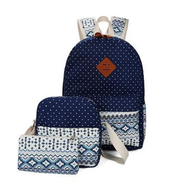 Stylish Canvas Printing Backpack Women School Bags for Teenage Girls Cute Set Black Backpacks Female Bagpack
