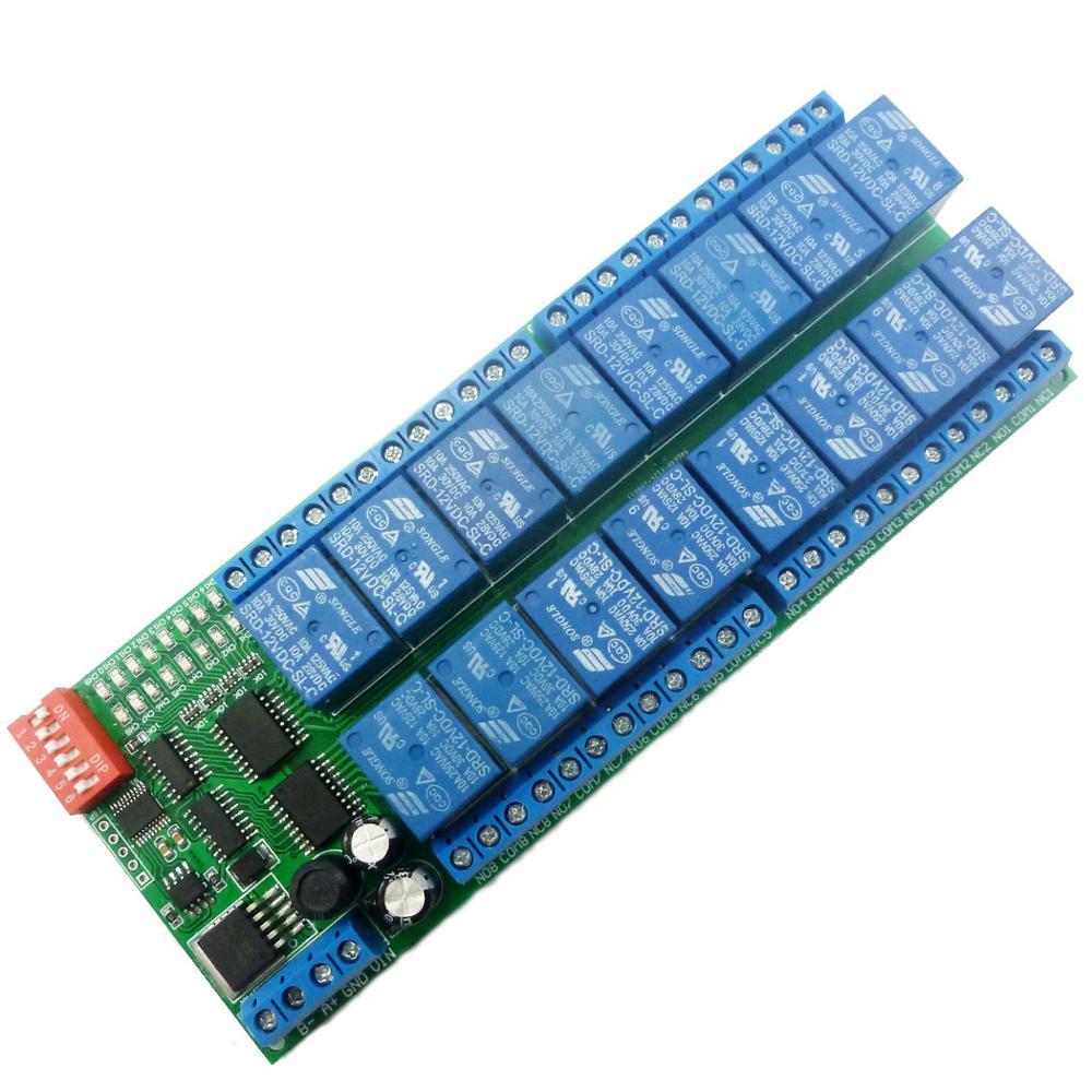 16 Channel DC 12V RS485 Relay Module Modbus RTU 485 Remote Control Switch Board for PLC
