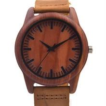 2016 El Más Nuevo Reloj de Los Hombres Relojes De Moda de Madera Con Tiras De Cuero Genuino Ronda Regalos de Año Nuevo