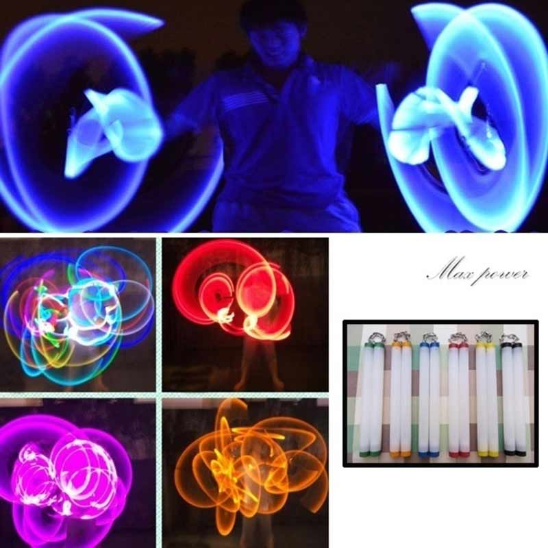 LED Light Nunchakus Glowing Fluorescent Performance Kongfu Nunchaku Sticks Light Up Toys 88 M09