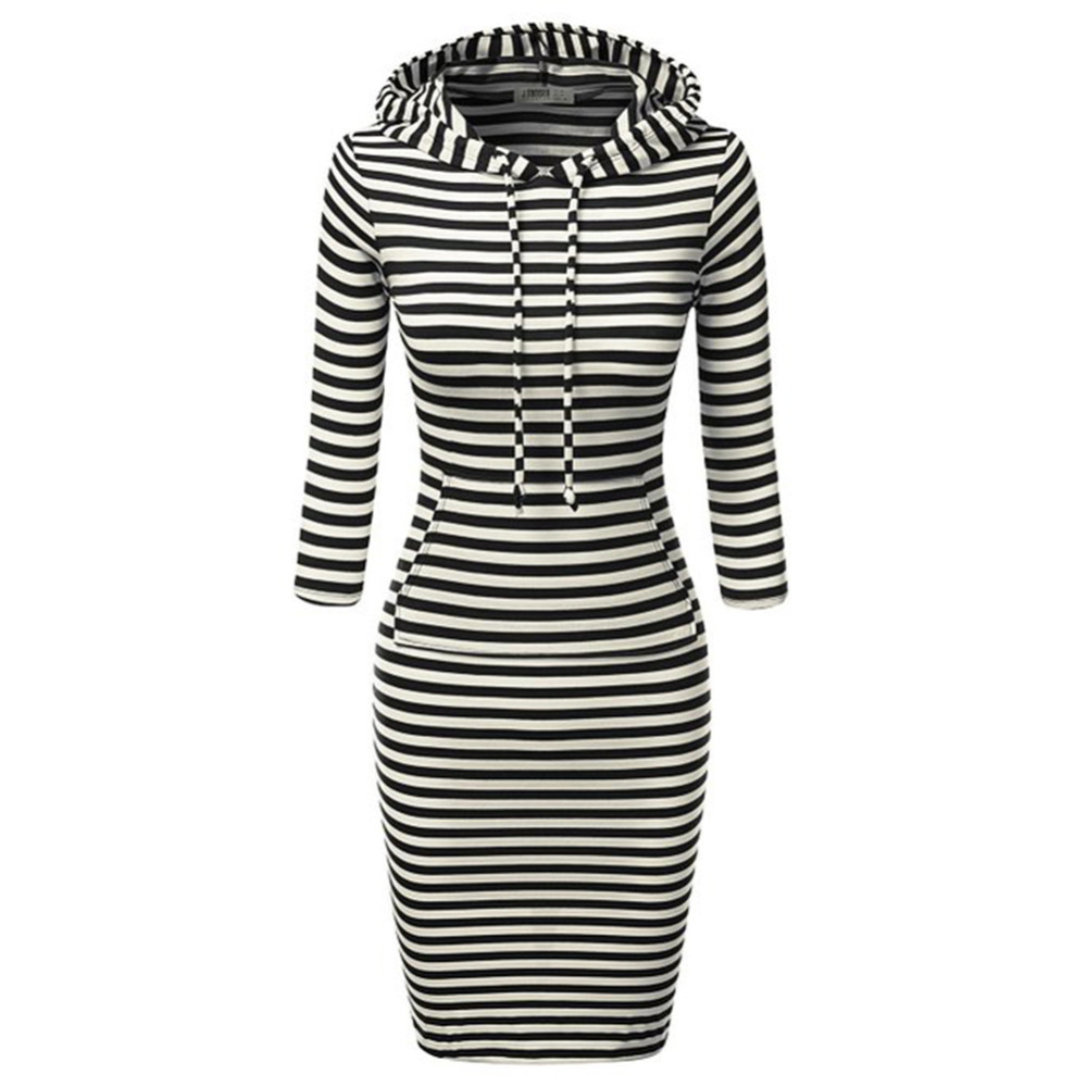 Fashion Women Striped Hoody Hoodie Hooded with Pockets Autumn Winter Wear Bodycon Casual Pencil Dress