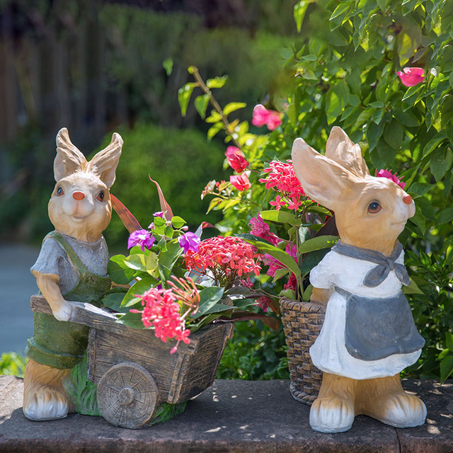 Rustic Artificial Animal Sculpture Resin Rabbits Craft Decoration Outdoor  Decoration 2pcs/lot Garden Decor Home