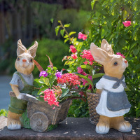 Rustic artificial animal sculpture resin Rabbits craft decoration outdoor decoration 2pcs/lot garden decor home craft