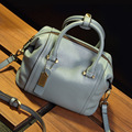 Women's Boston Bag 2016 New European Boston Handbag Solid Color Cowhide Women Messenger Bag Large Designer
