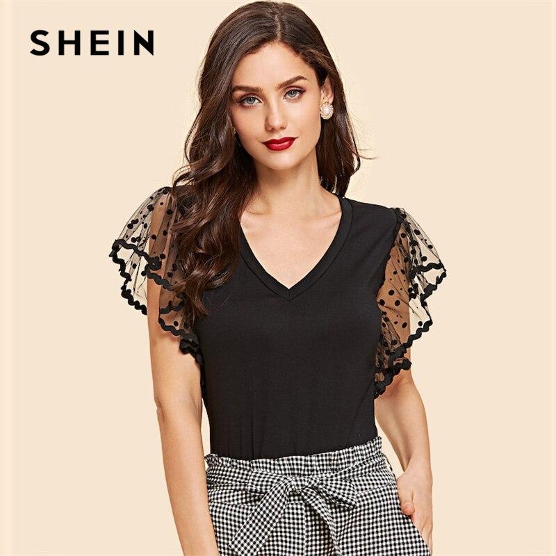 SHEIN Vintage Black Dot Contrast Mesh Sleeve V Neck Plain Tee T-shirt Women Summer Elegant Solid  Short Sleeve Tshirt Tops