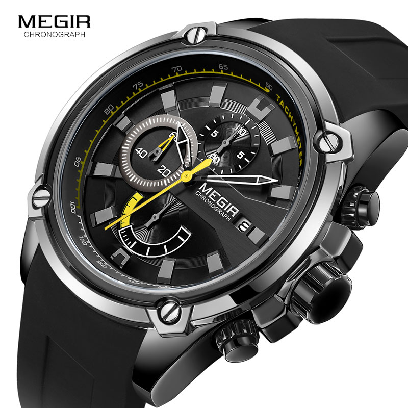 MEGIR Army Sports Quartz Watches For Men Black Silicone Strap Military Marine Chronograph Wristwatch For Man Relogios 2086 Black