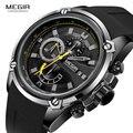 Relojes MEGIR Army Sports Quartz para hombres correa de silicona negra reloj de pulsera militar marino cronógrafo para hombre Relogios 2086 negro