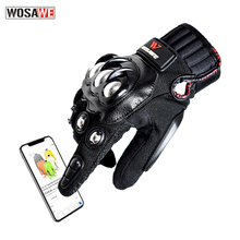 WOSAWE Stainless Steel Motorcycle Gloves PU Leather Anti-slip Full Finger Touch Screen Off Road Protective Racing Gloves motorcycle off road racing rider anti touch screen leather gloves