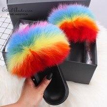 Brand New Real Fox/Raccoon Fur Slides Women's Casual Slipper