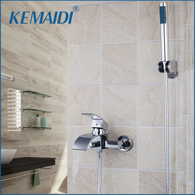 KEMAIDI Contemporary Wall Mounted Chrome Bathroom Bath Tap Mixer Bathtub Faucet Bathroom Waterfall Spout With Handle Shower contemporary chrome bathroom sink tub faucet single handle waterfall spout mixer tap wall mounted