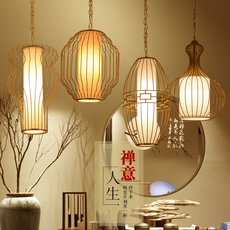 The new modern Chinese restaurant pendant light cage bar restaurant meal aisle porch Creative Zen hanging pendant lamp ya72728 restaurant cafe meal of lamps and lanterns hanging lamp is acted the role of single head 3 lemon meal hanging lamp