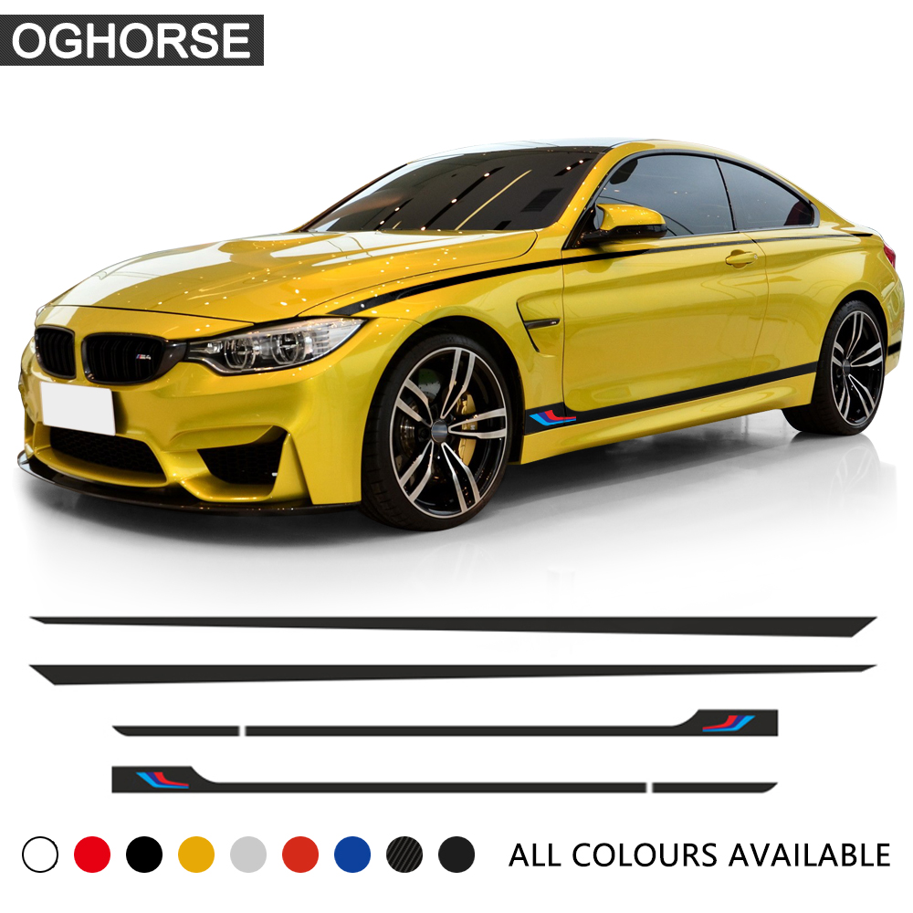 M Performance Sport Door Side Stripe Skirt Sticker Waist Line Body Decal for <font><b>BMW</b></font> 1 2 <font><b>3</b></font> 4 5 6 <font><b>Series</b></font> <font><b>GT</b></font> M4 f22 f30 f32 f36 f10 image