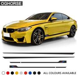 M wydajność Sport drzwi boczne spódnica w paski naklejka talia linia ciała naklejka dla BMW 1 2 3 4 5 6 seria GT M4 f22 f30 f32 f36 f10
