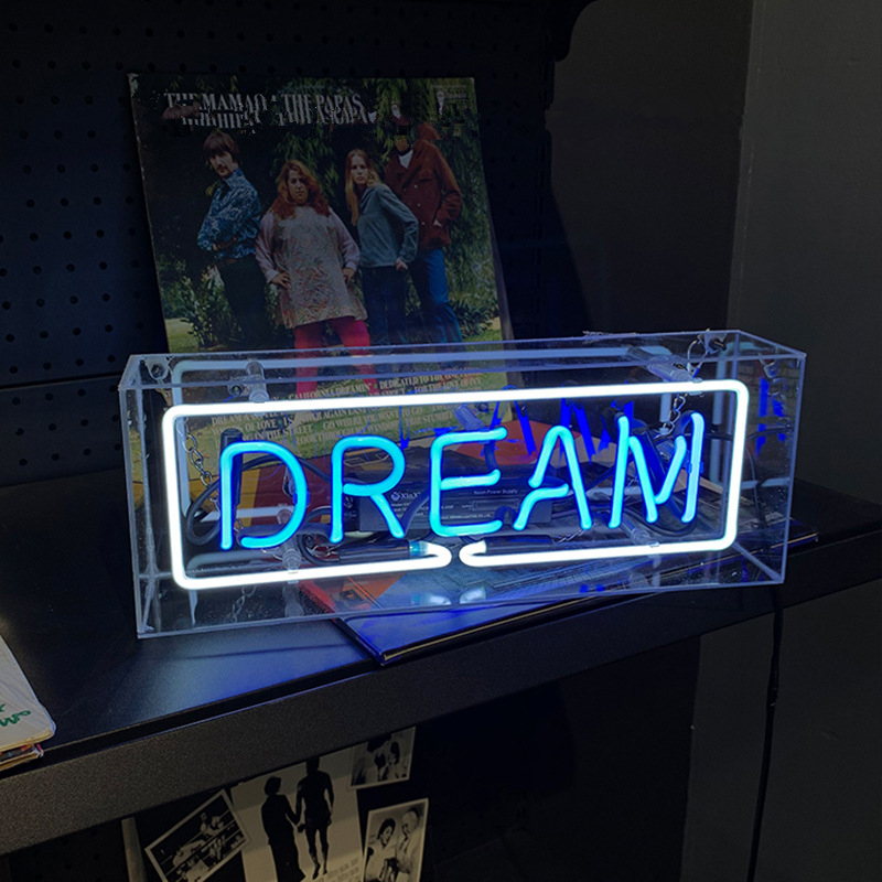 Купить с кэшбэком Party Wall Hanging Bar Atmosphere Decoration Shop Window Glass Neon Light Led Box Wedding Word Sign Art Photography Prop Home