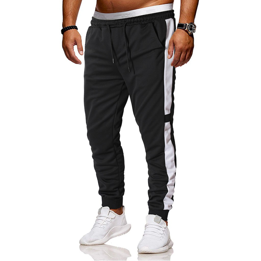 Training-Pants Sportswear Workout Fitness Stripe Men Joggers Breathable Male Plus-Size
