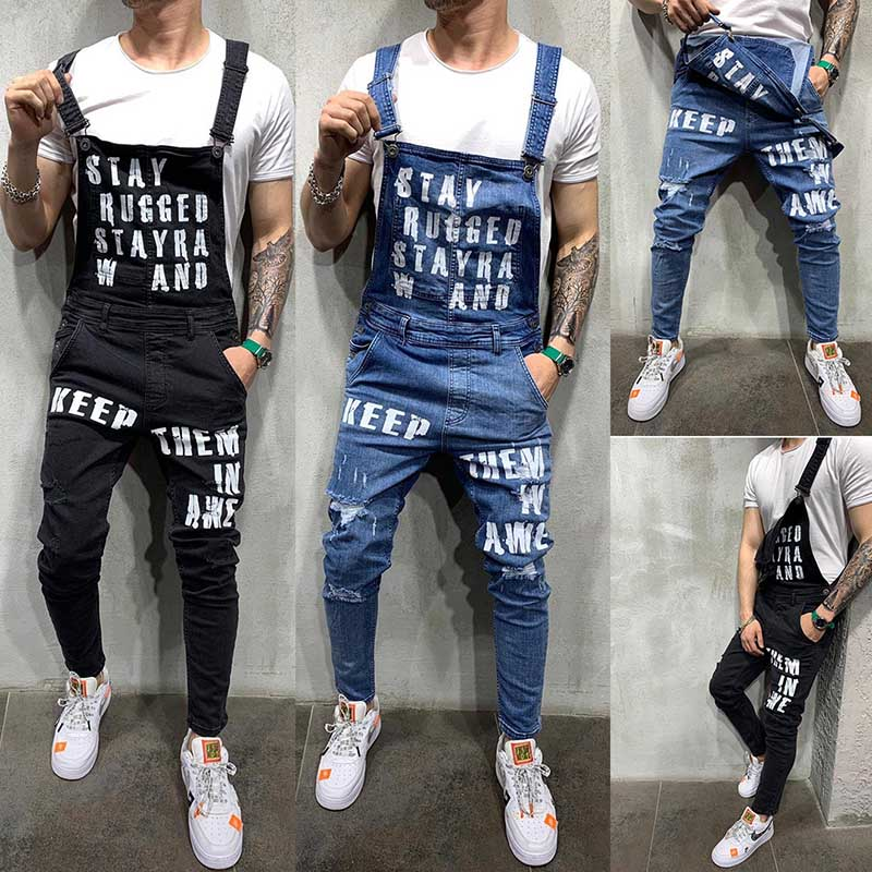 Mcikkny Men\`s Ripped Denim Jeans Bib Overalls Letter Printed Jeans Jumpsuit For Male Streetwear Suspender Pants Size S-XXL (6)