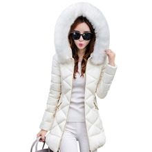 Womens Winter Down Jacket 2017 New Fashion Warm Outerwear Hooded Big Fur Collar Female Coat Quilted Padded Slim Parkas Jackets