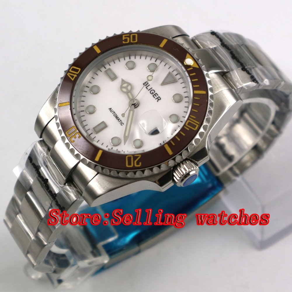 40mm Bliger white Dial coffee ceramic bezel Sapphire Glass Automatic Movement Men's Mechanical Wristwatches 44mm bliger gray dial blue ceramic bezel sapphire crystal automatic movement men s mechanical wristwatches