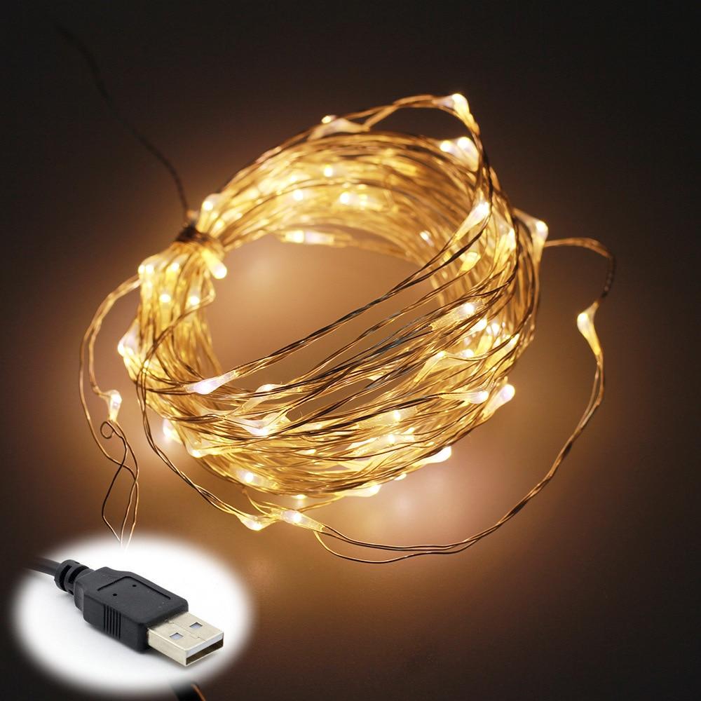 5V 10M 100 LEDs luces de la secuencia del alambre de cobre del USB LED impermeable para la fiesta de Navidad de la boda decoración casera