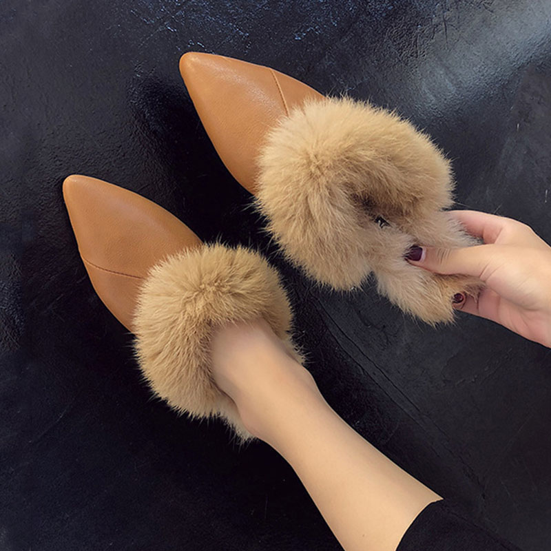 Bailehou Brand Mules Fur Flat Slippers Shoes Slides Ladies Slip On Casual Shoes High Quality Woman Shoes Warm Outside Slippers все цены