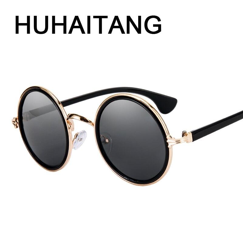 HUHAITANG luxe merk steampunk zonnebril vrouwen vintage ronde mannen punk zonnebril voor vrouwelijke kwaliteit merk designer eyewear