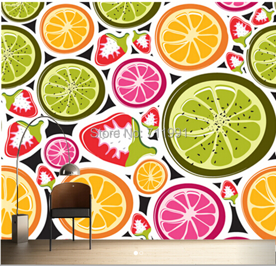 Free shipping custom 3D Funky Fruits Food Wall Mural Wallpaper
