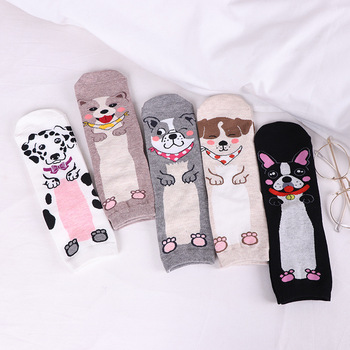 Socks for women cotton 2018 autumn and winter dog pattern harajuku funny socks female warm cartoon socks woman sox meias Women Socks