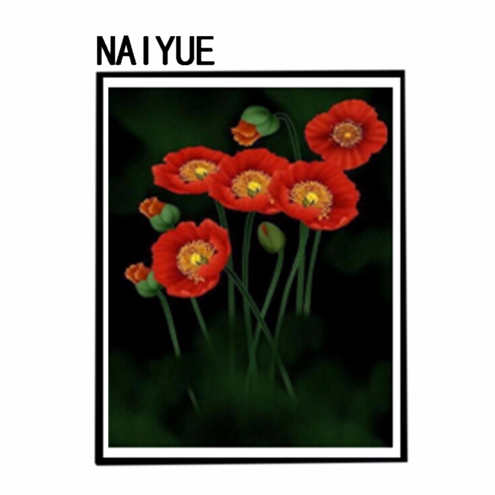 5d Diamond Painting Embroidery Poppy Flowers Bud In Darkness 3d Diy