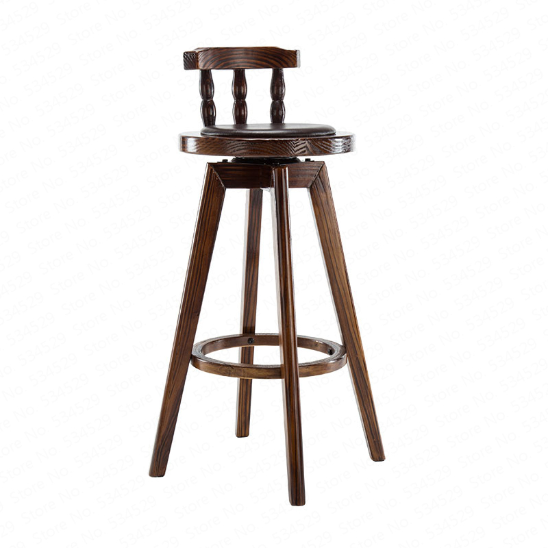 B American Bar Table And Chair Combination Retro High Stool Table Combination Coffee Shop Solid Wood Table Leisure Bar Stool