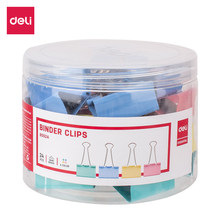 Deli e8552a binder clip 41mm 24 pces/tubo multicolorido clipes de papel arquivo documento pasta escola material de escritório