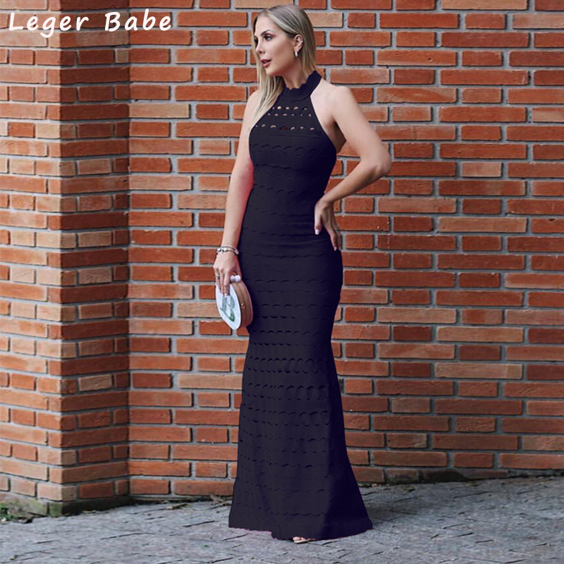 Leger Babe 2018 HL Fashion Prom Halter Bandage Mermaid Maxi Party Dresses Women Bodycon Rayon Evening